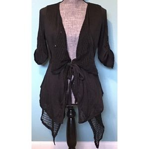 Blue Bird Anthropologie Cardigan Sequin Layers Tie